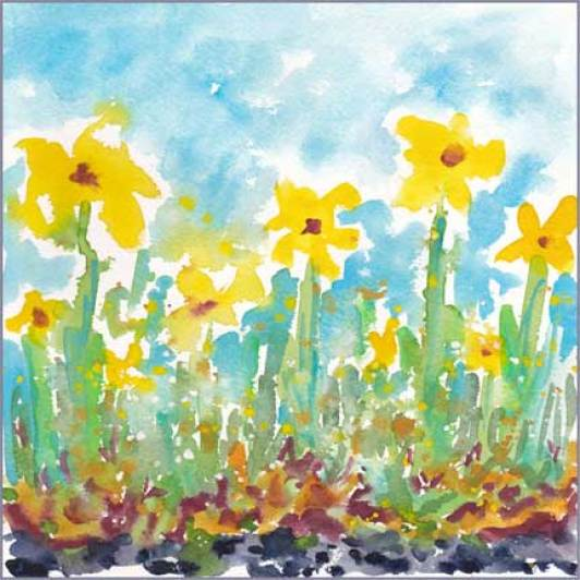 Yellow Field. 8 x 8 in. watercolor on Arches 140 lb. cold pressed paper. © 2016 Sheila Delgado
