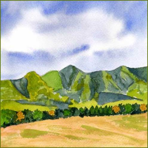 Mountain. 6 x 6 in. watercolor on Arches 140 lb. cold pressed paper. © 2016 Sheila Delgado