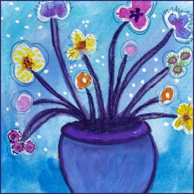 Flowers in a Blue Vase. 6 x 6 watercolor on paper. © 2017 Sheila Delgado