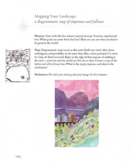 Page 184, Patty Digh - The Geography of Loss. Watercolor, © 2012 Sheila Delgado