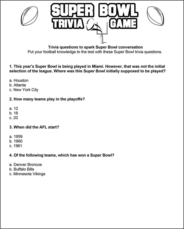 Super Bowl trivia game \u2013 SheKnows