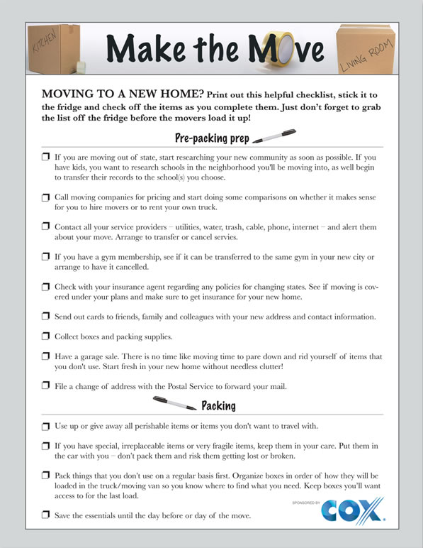 Printable moving checklist \u2013 SheKnows