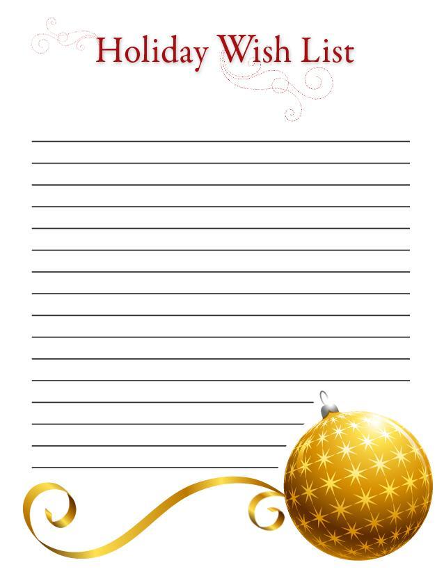 Printable Holiday wish lists \u2013 SheKnows