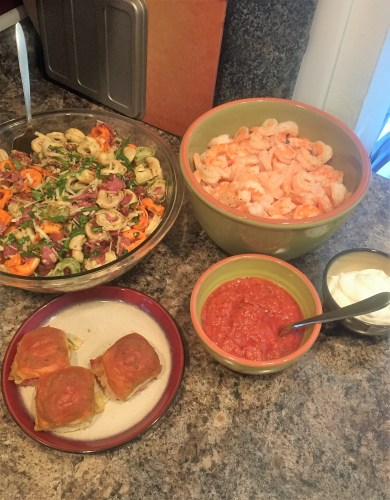 tortellini-salad-and-shrimp-cocktail