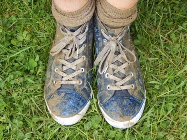 Fruit shoot mini mudder muddy socks and trainers