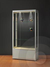 Dustproof Display Cabinet with Storage Cupboard   Glass ...