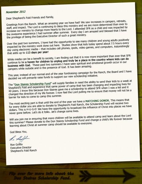 Year End Letter 2012 Shepherd\u0027s Fold Ranch
