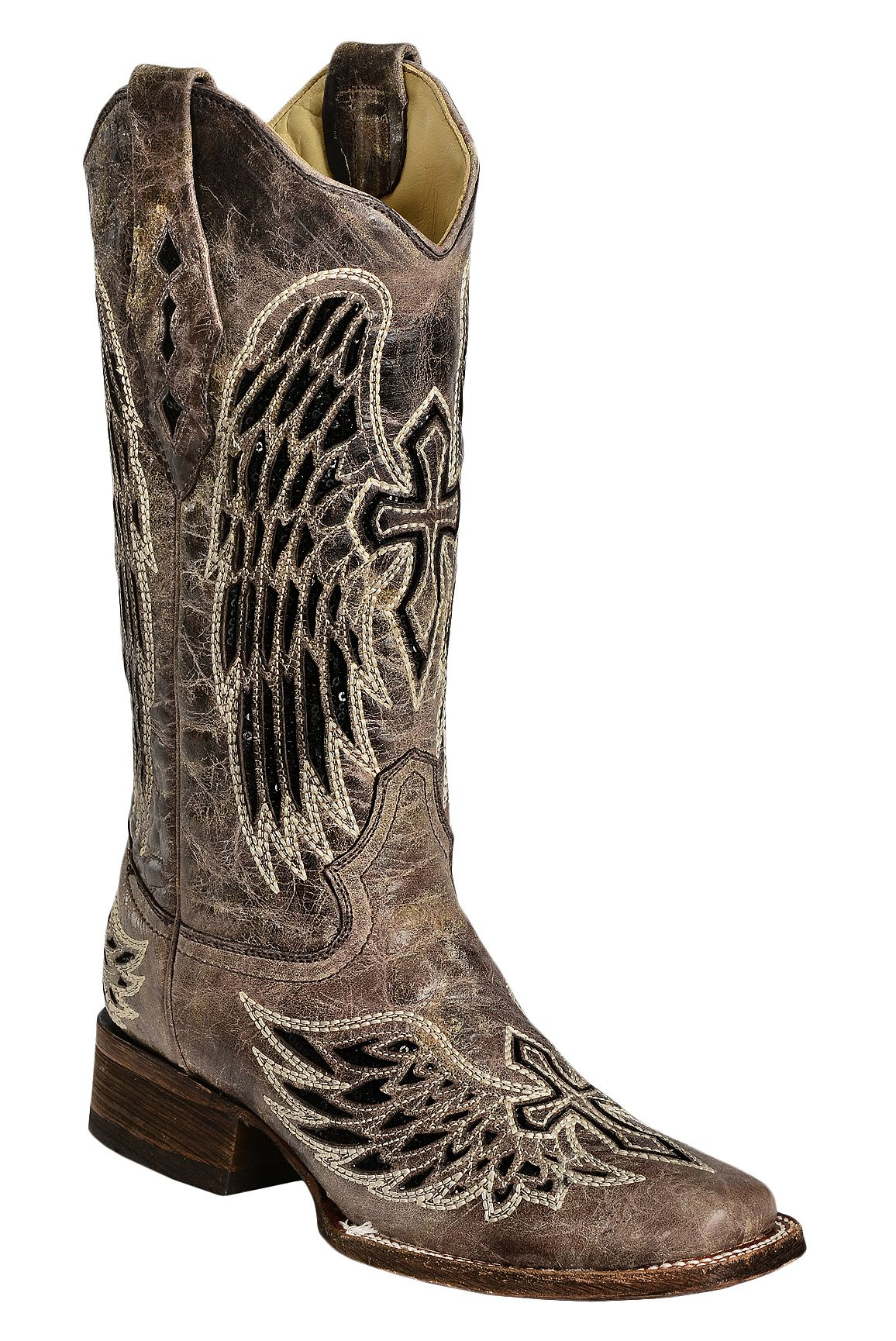 Corral Black Sequin Wing Cross Inlay Cowgirl Boots