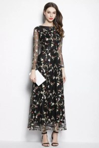 Black Organza Floral Long Party Dress Long Sleeves - $95 # ...