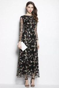 Black Organza Floral Long Party Dress Long Sleeves - $95 # ...