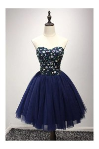 Dark Navy Blue Short Prom Dress With Sequin Bodice For ...