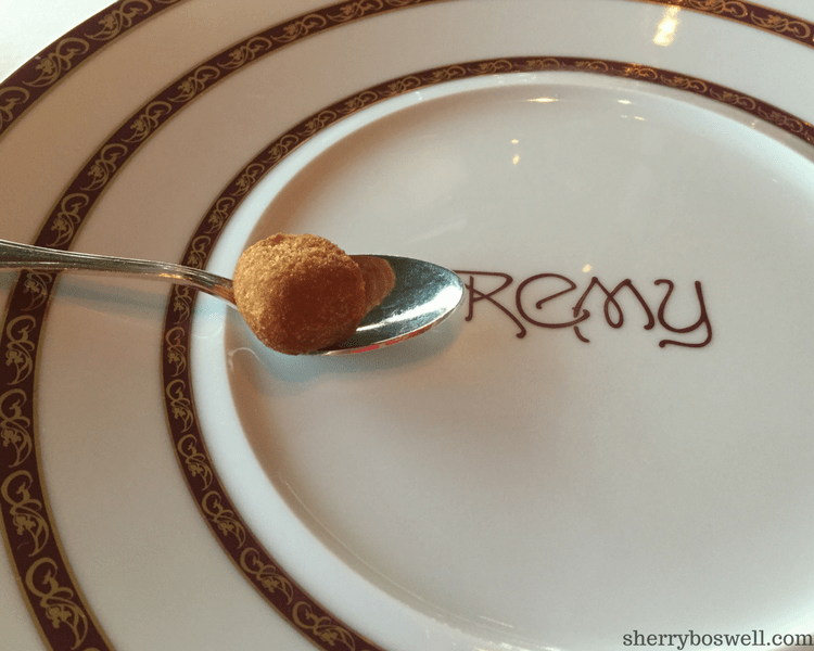 dine at Remy on your Disney cruise amuse bouche soup
