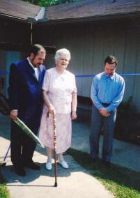 Randy Eddy-McCain's mother praying dedicatory prayer for Open Door's new church building