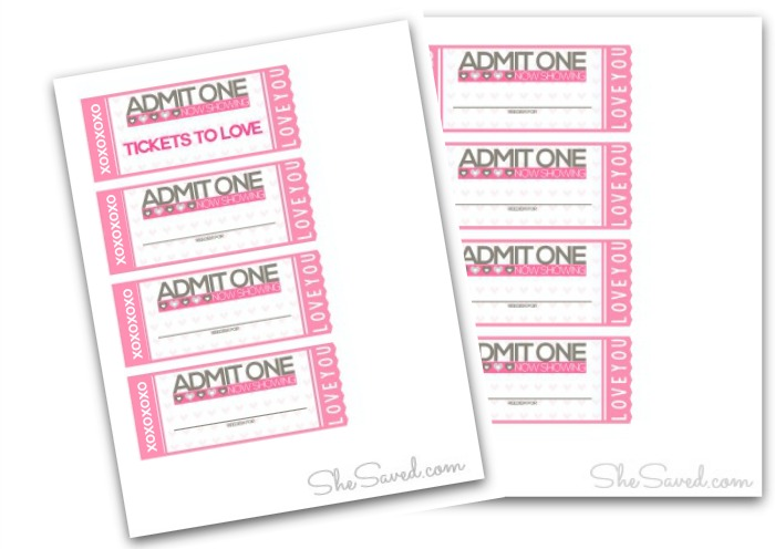 FREE Printable Tickets to Love Valentine Coupon Book! - SheSaved®