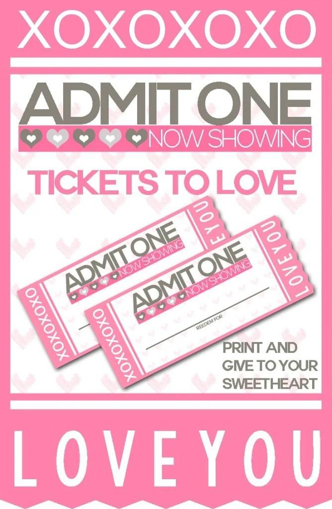 FREE Printable Tickets to Love Valentine Coupon Book! - SheSaved® - printable tickets free