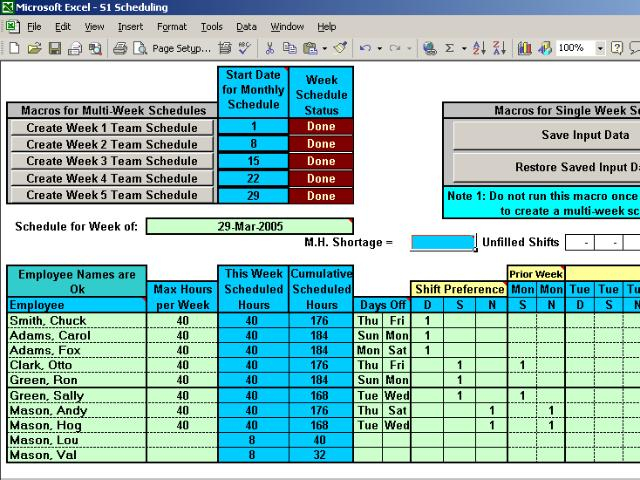 Automatically Schedule Your Employees to 3 Shifts with Excel