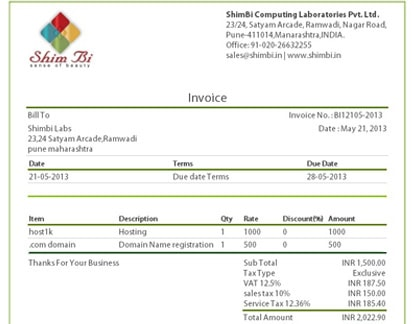 Shimbi Invoice Features - Online Invoicing Software