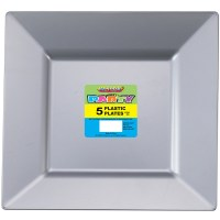 Silver Square Plates Pk 5 - Plastic Tableware - Shindigs ...