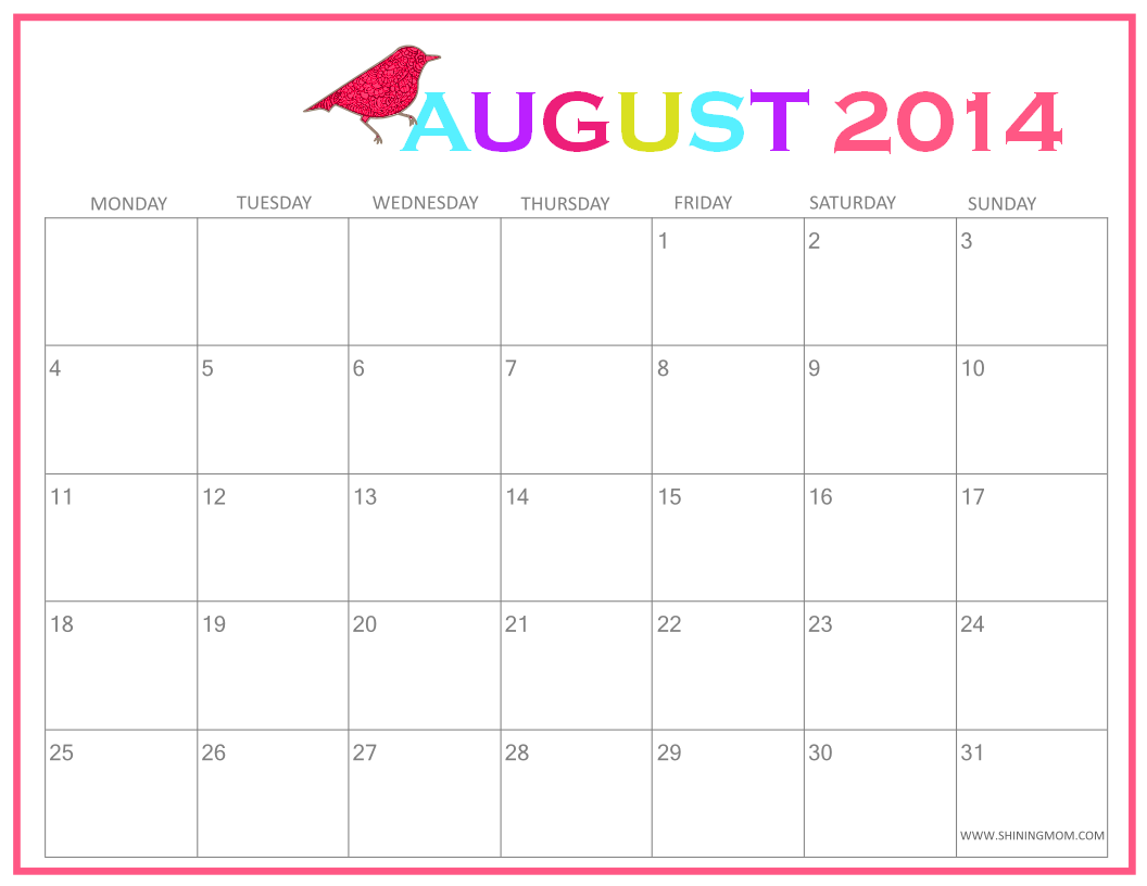 Fresh designs august 2014 calendar by shining mom for Fillable calendar template 2014