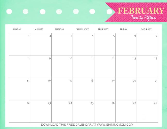 free printable calendars february 2015