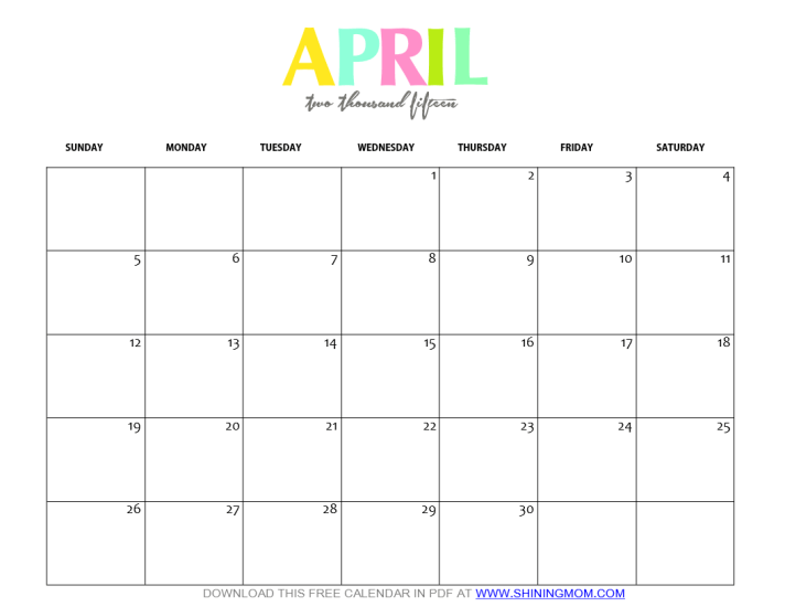 Free printable april 2015 calendar by shining mom for Free downloadable 2015 calendar template