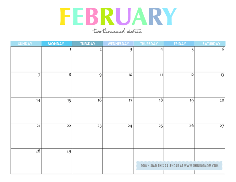 ... printable january 2016 calendar free printable february 2016 calendar