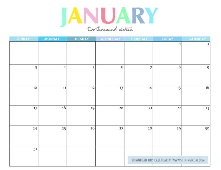 A January Calendar 2013
