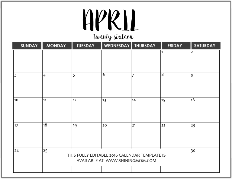 Calendar April 2016 : Just in fully editable calendar templates ms word