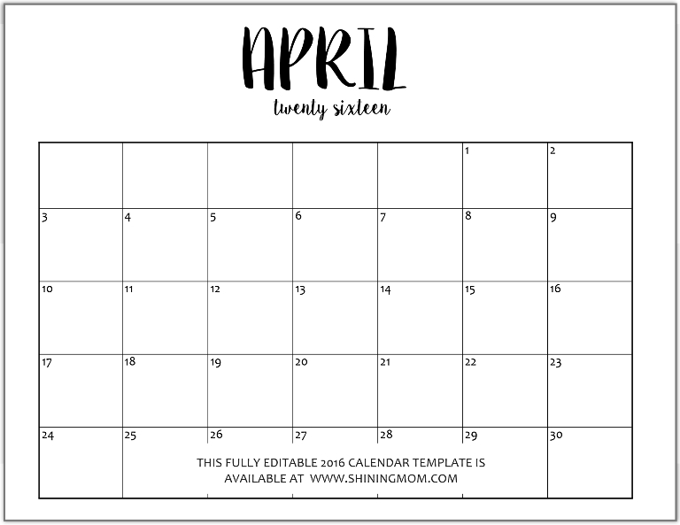 april calendar word - Josemulinohouse