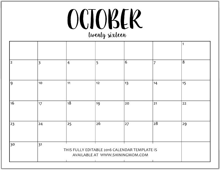microsoft word blank calendar