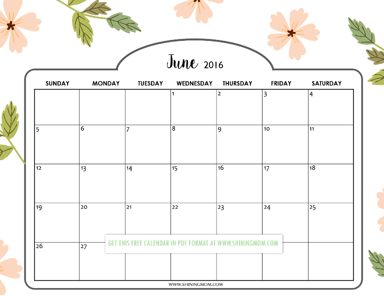 Calendar Girly : Pretty printable calendars for june