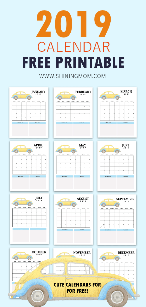 free printable calendars 2019 cute