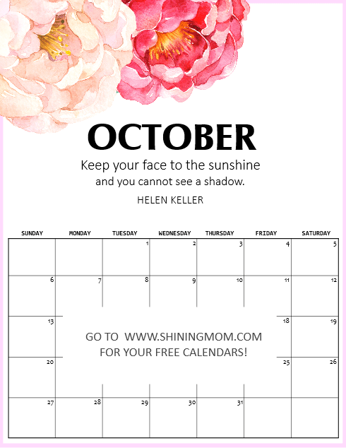 2019 printable calendars by month