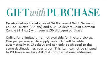 Free gift from Nordstrom with $150 diptqyue purchase.