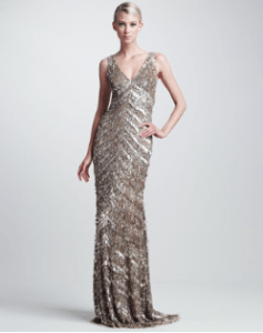 Buy Theia – Sequined Deco Gown