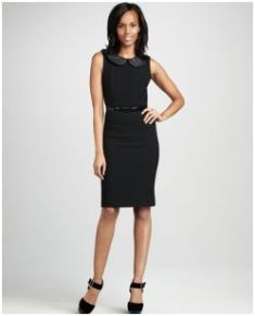 Alice + Olivia Osie Leather-Trim Dress