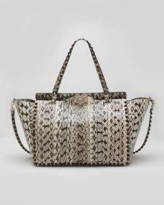 Valentino – Rockstud Medium Snakeskin Tote Bag, Ivory