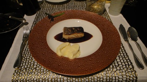 Joel Robuchon - Le Black Cod - semi smoked black code with eggplant puree