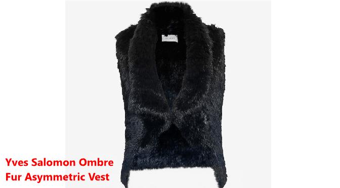 Yves Salomon Ombre Fur Asymmetric Vest in Navy