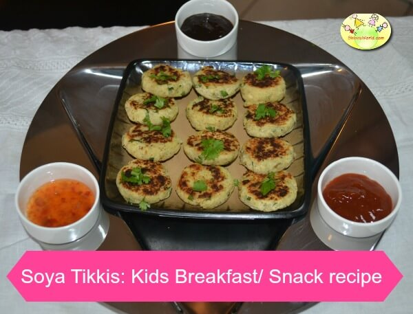 Soya tikkis/ Soya Chaap: snack recipe for kids