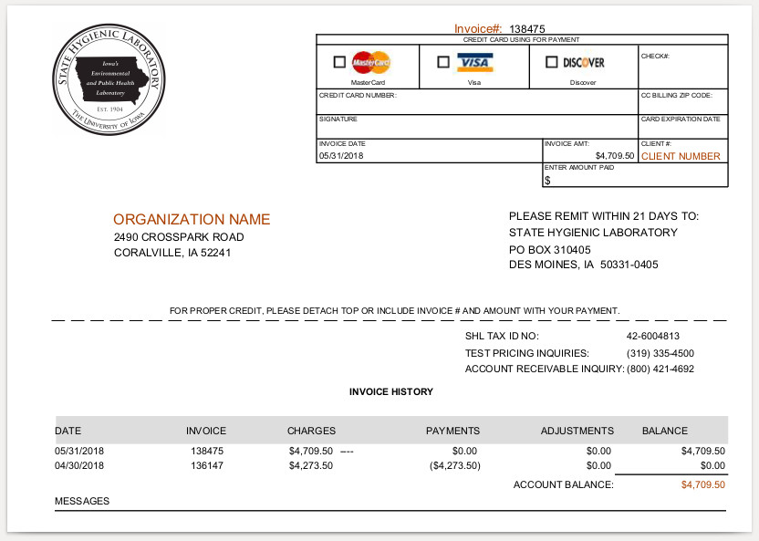 Financial Services - Pay an Invoice- State Hygienic Lab - The