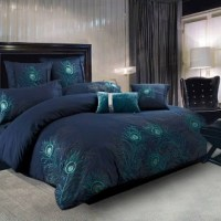 Peacock Feathers Blue Comforter Set