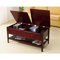 Contemporary Espresso Finish Coffee Table Storage Space