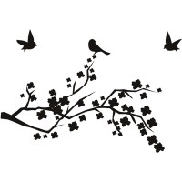 Birds On Floral Branch Silhouette Birds & Feathers Wall ...