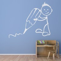 Stickman Writing Wall Sticker Classroom Wall Decal School ...