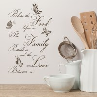 Food Family Love Prayer Butterflies Wall Quote Wall ...