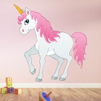 Pink & White Unicorn Wall Sticker Fairytale Wall Decal ...