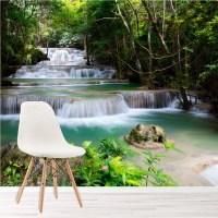 Tropical Forest Waterfall & River Landscape Wall Mural ...