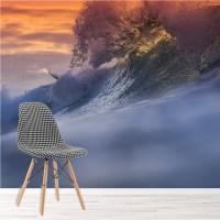 Ocean Wave & Orange Sky Seascape Water Wall Mural Nature ...
