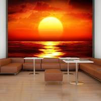Red Sunset Wall Mural Ocean Seascape Photo Wallpaper ...